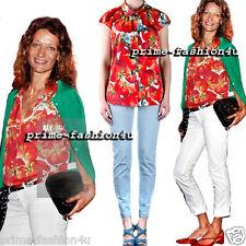 Dolce & Gabbana Tomato Print Silk crêpe Crystal Buttons Shirt Blouses