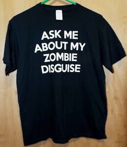 Ask Me About My Zombie Disguise Navy Blue Youth SS T-Shirt By Gildan XL