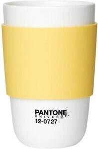 Pantone Travel Coffee Cup Mug Flask With Silicone Band Yellow 12-0727 Sunshine