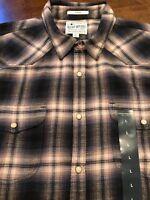 NWT $69 Lucky Brand Men's LS Saturday Stretch Pearl-Snap Slim Fit Plaid Shirt L