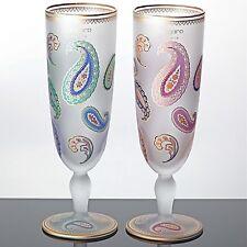 2 Ungaro Paris Pils Gläser mattiert weiß Paisley Gold Sasaki Japan rosa blau