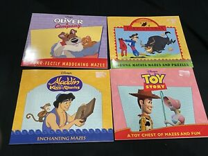 New Vintage Lot Puzzles and Mazes Book Disney Lion King Toy Story Aladdin Oliver