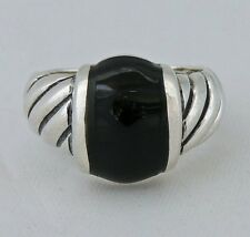 CLASSIC ESTATE Sterling Silver ONYX DOME RING size 7.75