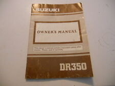 Suzuki Owners Manual 1991 DR350