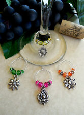 My Garden Flowers ~ Set of 4 Wine Glass Charms ~ Great Wine Enthusiast Gift Idea
