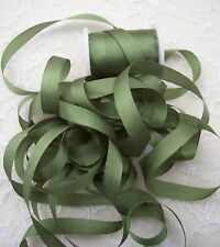 "100% SILK EMBROIDERY RIBBON 1/4""[7 MM] FOREST/GREEN 10Y"