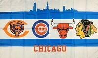 Chicago Bears Cubs Blackhawks Bulls Flag 3x5 ft Sports White Banner Man-Cave