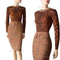 DOLCE & GABBANA vintage leopard tweed pinup 1950s DRESS size UK 4 US 0 I 36 dg