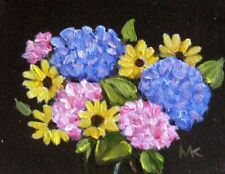 HORTENSIAS  ORIGINAL Oil Aceo Art  Miniature Flowers Dollhouse Painting
