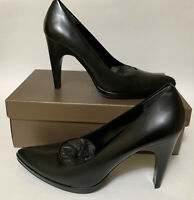 NEW Paolo Linea Lorelei Womens 10 N High Heel Pumps Black Leather Shoes in Box