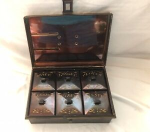 Antique Kreamer Tin Metal Spice Lock Box w/ 6 spice containers