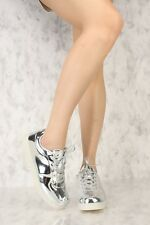 New Womens Mirror Metallic Lace Up Fashion Sneaker Ankle Booties Boot Dance Shoe