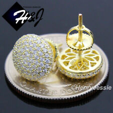 925 STERLING SILVER 9MM LAB DIAMOND ICED GOLD ROUND SCREW BACK STUD EARRING*GE81