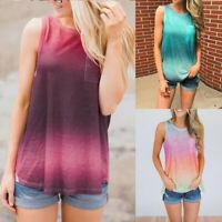 Summer Women O-Neck Gradient Beach Tank Tops Sleeveless Vest Casual Blouse