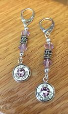 Winchester 9mm Luger Nickel Bullet Casing Dangle Earrings W/ Lt Amethyst Crystal