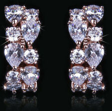 14k Rose Gold Earrings made w Swarovski Crystal Bling Clear Stone Bridal Jewelry