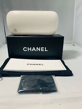 NEW!!  CHANEL  RARE WHITE  Sunglass/Eyeglass Case w/Box, Linen Bag Cloth & Book