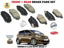 FOR TOYOTA VERSO S 1.33 VVTI 2010-> NEW FRONT + REAR BRAKE DISC PADS SET