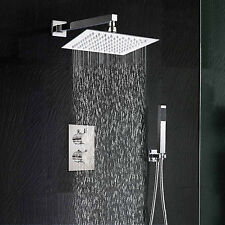"Thermostatic Mixer Valve 10"" Ultrathin Square Rainfall Handheld Shower Head Set"