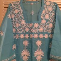 Woman's 42 Aqua Cotton Tunic Embroidered White Accents Made In India