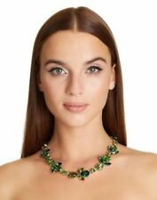 780$ AUTH OSCAR DE LA RENTA  Green Emerald Teardrop Crystal-embellished Necklace