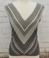 RALPH LAUREN Cashmere/Silk Black Label Sleeveless Sweater/Vest Gray Stripes Med