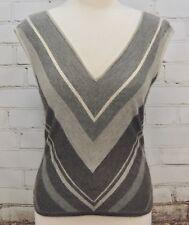 RALPH LAUREN Cashmere/Silk Black Label Sleeveless Sweater/Vest Gray Stripes Med