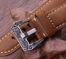 Edle Schließe Buckle 20 mm für Lederstraps Uhrenbänder Vintage Retro Ammo Strap