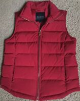 Talbots Women's Deep Cherry Red Duck Down Puffer Quilted Vest XS 2 4