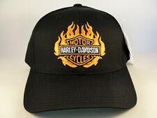 Harley Davidson Flame Logo Vintage Snapback Hat Cap Black