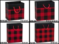 BUFFALO PLAID MATTE Design Gift Laminated Paper Bag Choose Size & Package Amount