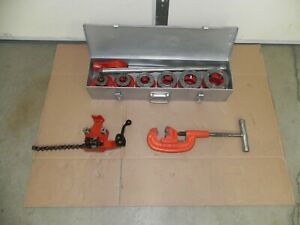 "Ridgid 12-R set 6 heads,1/2""- 2"" NPT with case, rigid cutter, bench vise BC210"