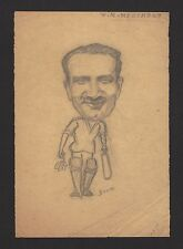 Cricket India 1950 Vijay Merchant pencil sketch by cartoonist R Booch Ӝ