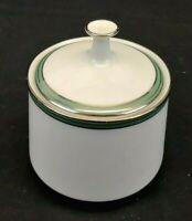 Noritake Fine China Royale Mint Sugar Bowl w/ Lid Green with Platinum Trim 6538