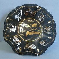 "Vintage Virgin Islands Smoked Glass Tray Trinket Change Dish Ruffled Edge 7"""