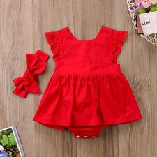 Baby Girls Kids 2Pcs Outfit Set Floral Princess Dress Lace Romper Skirt Headband