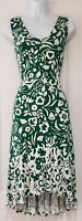 Womens Boden Green White Floral High Low Hem Summer V Neck Midi Dress 12P New.