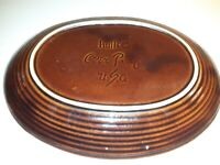 "Vintage Hull Brown Drip Glaze Oval Serving Platter 12"" Oven Proof USA"