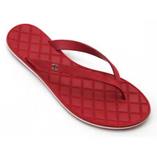 Chanel Red Leather Thong Flip Flop Sandals Spring 2015 Quilted Sz 39.5 / 9