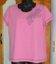 SB ACTIVE Scalloped Neck KNIT TOP Pink with Navy Paisley; Short Sleeve size L