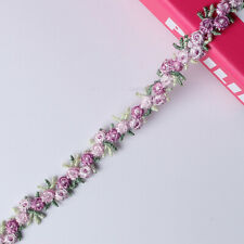 2 Yards Flower Embroidered Lace Trim Ribbon Fabric Diy Sewing Handmade Craft