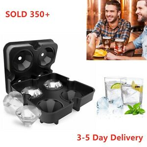 Ice Cube Tray Halloween Party Mold Silicone Whiskey 3D Diamond Mould Bar