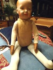 "Antique c1860s Ex Lg 27"" L Baby Doll Paper Mache Composition Head Wood Chip Body"