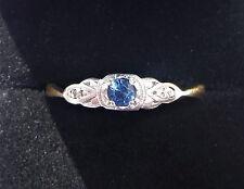 Antique Art Deco 18ct Gold, Platinum, Sapphire & Diamond Ring, Size L