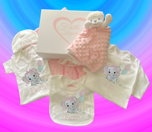 Large Luxury Personalised Embroidered Baby Gift Set Presented in a Keepsake Box