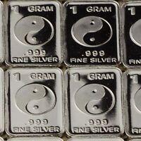 Yin-Yang, Tai Chi Design. Lot of 10, 1 gram silver bullion .999 Fine Silver bar.