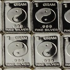 """""""Tai Chi"""" Design. Lot of 10, 1 gram silver bullion .999 Fine silver bar."""