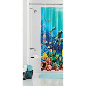 """Ocean Life Dolphin Fish Coral Turtle Sea Horse Multi Color Shower Curtain 72x70"""""""
