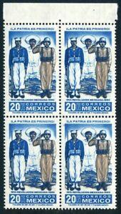 Mexico 915 block/4,MNH Mi 1101. Mexican Revolution,50th Ann.Sailor,Soldier,1961.