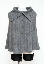 WOMENS H&M PONCHO CAPE ALPACA WOOL CABLE KNIT JUMPER GREY SIZE XS XSMALL EXC
